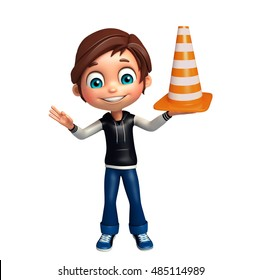 3d rendered illustration of kid boy with construction cone