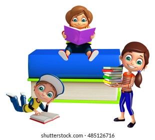 3d rendered illustration of Kid boy and girl with Books