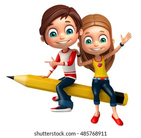 3d rendered illustration of Kid boy and girl with Pencil