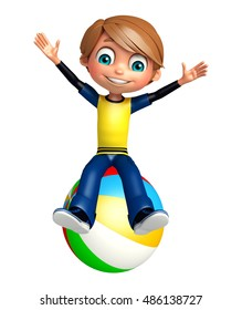 3d rendered illustration of kid boy with bigball
