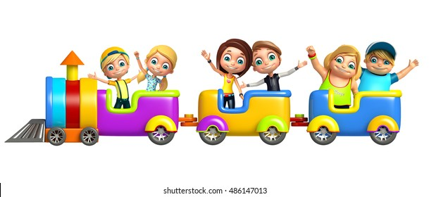 3d rendered illustration of Kid boy and girl with Train