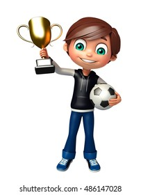 3d rendered illustration of kid boy with football trophy