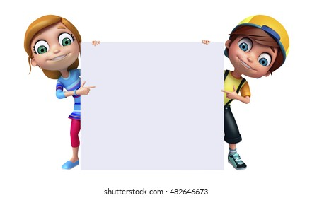 3d rendered illustration of kid girl and kid boy with White board