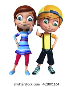 3d rendered illustration of kid girl and kid boy with Thumbs up pose