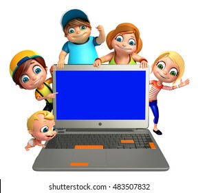 3d rendered illustration of kid girl, kid boy and cute baby with Laptop