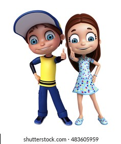 3d rendered illustration of kid girl and kid boy with Thums up pose