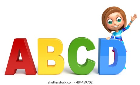 3d rendered illustration of kid girl with ABCD sign