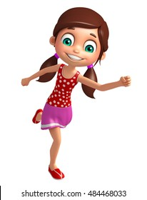 3d rendered illustration of Kid girl with Running pose