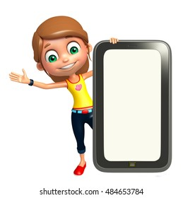 3d rendered illustration of kid girl with Tab