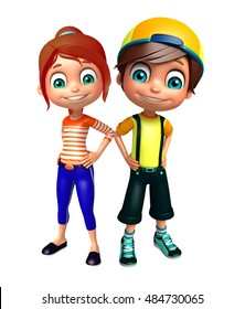 3d rendered illustration of kid girl and kid boy