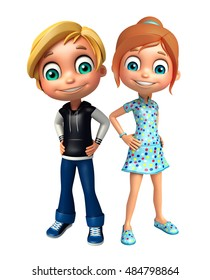 3d rendered illustration of kid girl and kid boy