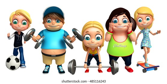 3d rendered illustration of kid girl and kid boy with Gym equipment, football and skating board
