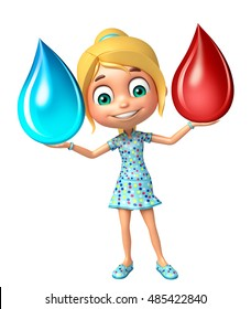 3d rendered illustration of kid girl with Blood drop and water drop