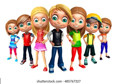 3d rendered illustration of kid girl and kid boys
