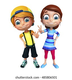 3d rendered illustration of kid girl and kid boy with Victory pose