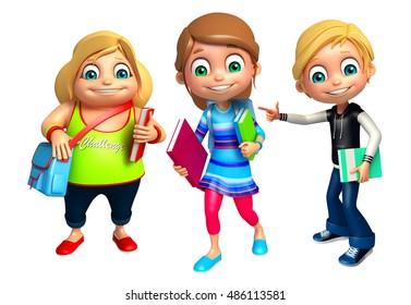 3d rendered illustration of kid girl and kid boy with School bag and books