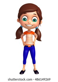 3d rendered illustration of Kid girl with Funny pose