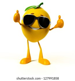 3d rendered illustration of a lemon character