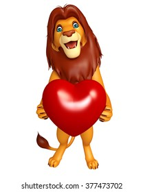 3d rendered illustration of Lion cartoon character with heart