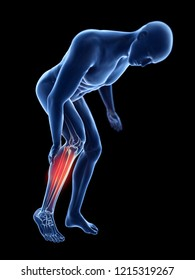 3d rendered illustration of a man having a painful calf