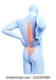 3d rendered illustration of a man having backache
