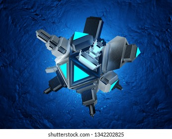3D rendered Illustration of a medical microscopic Nano Bot particle .