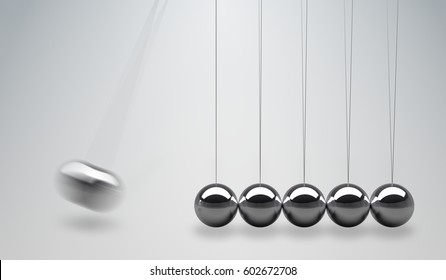 3D rendered illustration of Newtons cradle - balancing balls.