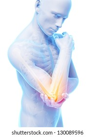3d rendered illustration of pain in the elbow