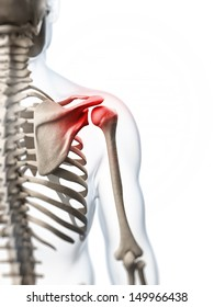 3d rendered illustration of a painful shoulder