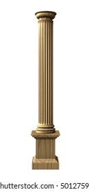 3d rendered illustration from a part of a wood column