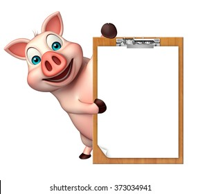 3d rendered illustration of Pig cartoon character with exam pad
