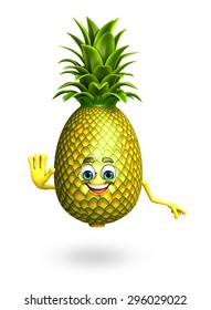 3d rendered illustration of pineapple cartoon character