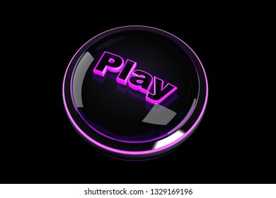 3D rendered Illustration of a Play Pushbutton.