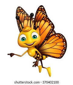 3d rendered illustration of pointing Butterfly cartoon character