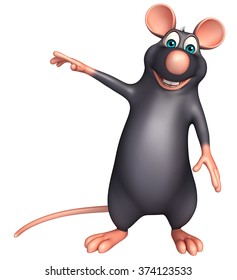 3d rendered illustration of pointing  Rat cartoon character