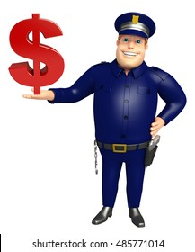 3d rendered illustration of Police with dollar sign