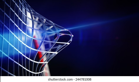 3d rendered illustration of puck in net of ice hockey goal. The puck with shining lines. Goals with depth of field dof effects. Place for copyspace text.