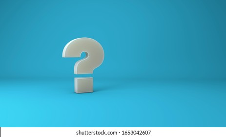 3D rendered illustration question mark and blue background