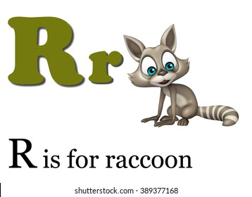 3d rendered illustration of Raccoon with alphabet