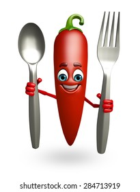 3d rendered illustration of red chili cartoon character