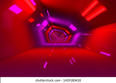 3D rendered Illustration of a scifi Tunnel of a spaceship or station.