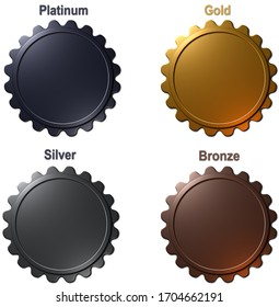 A 3D rendered illustration of a set of 4 blank medals in Platinum, Gold, Silver and Bronze, isolated on a white background