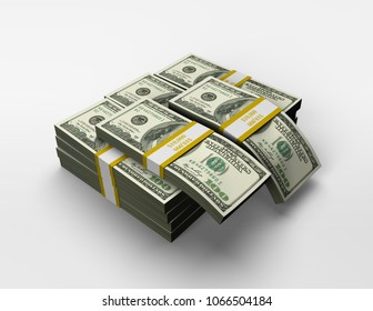 3D Rendered Illustration of a Small Pile of Cash in US Currency $100 Bills.