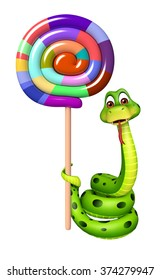 3d rendered illustration of Snake cartoon character with lollypop
