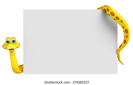 3d rendered illustration of Snake cartoon character with board