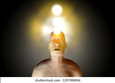 3D rendered Illustration of the soul leaving a dead old body upon death.