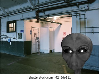3d rendered illustration of space aliens at a restroom