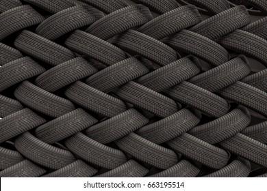 3D rendered illustration of stacked car tires.