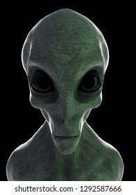 3d rendered illustration of a standing grey alien