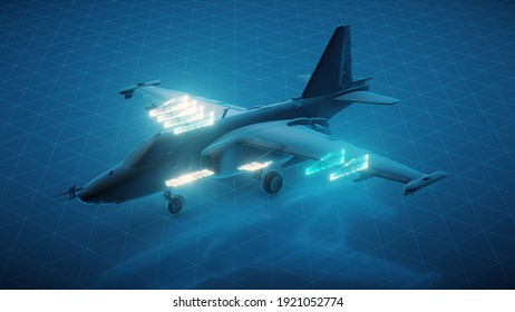 3d rendered illustration of Su 25 airplane. High quality 3d illustration